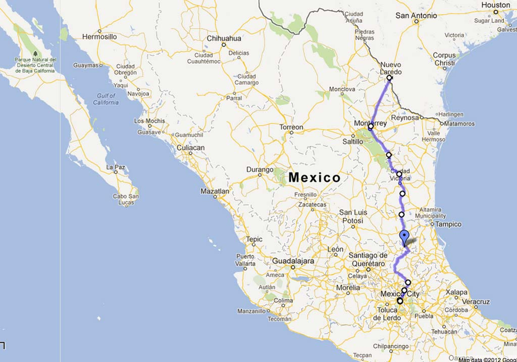 The Panamerican Highway (MEX-85) from Laredo to Mexico City