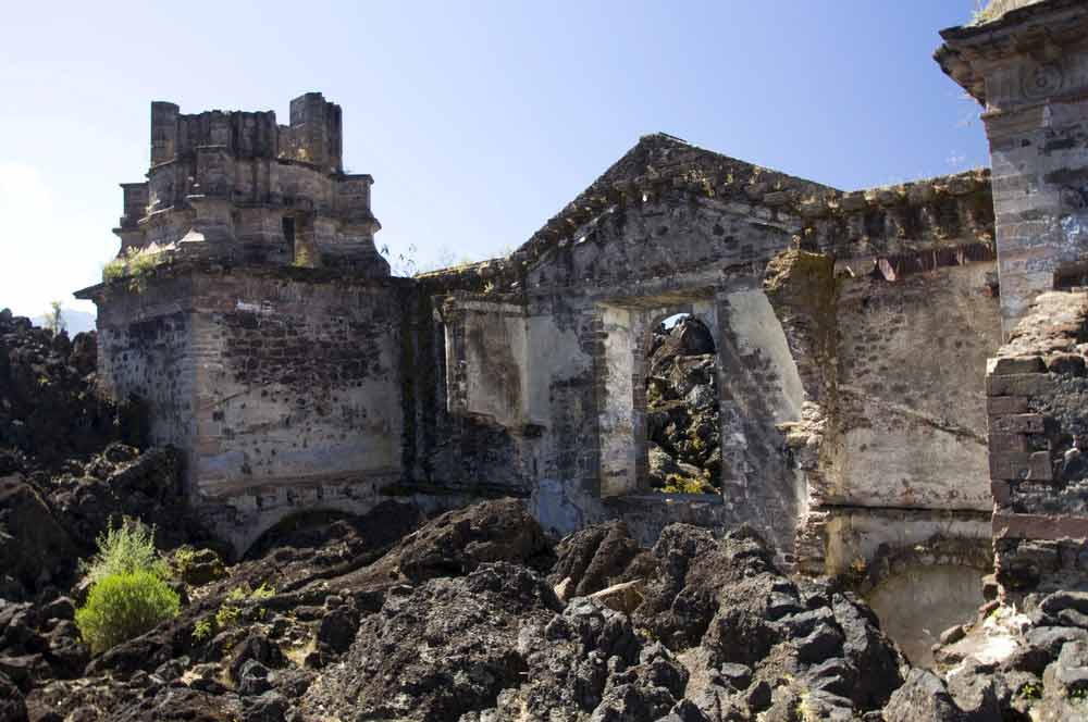 church destroyed by paricutin volcano lava flow