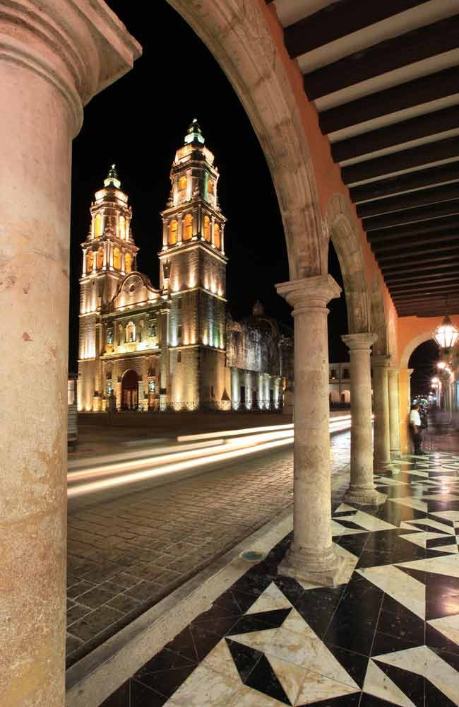 Night shot from Cathedral de la Concepcion in Campeche
