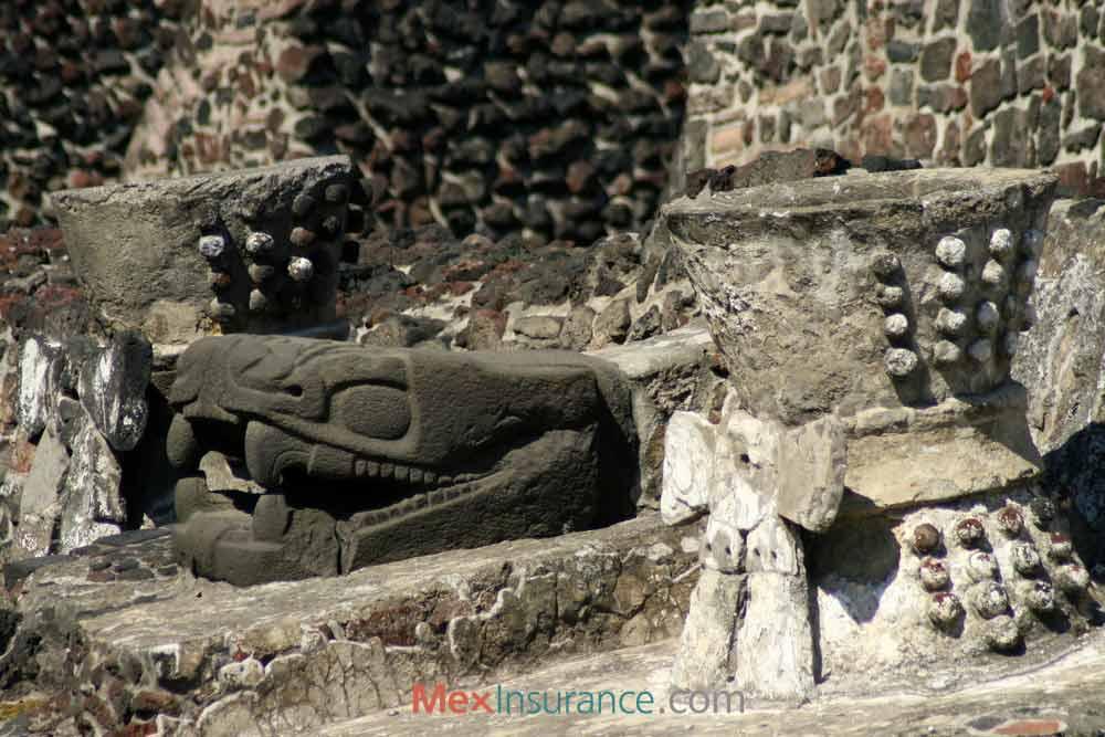 Serpent Sculpture in Templo Mayor, Mexico City