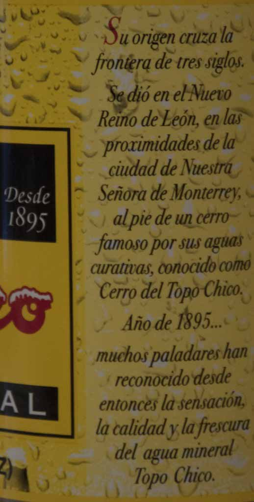 Topo Chico Story on the Label