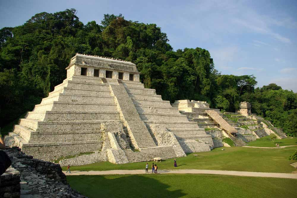Old stone temple in Palenque, Mexico
