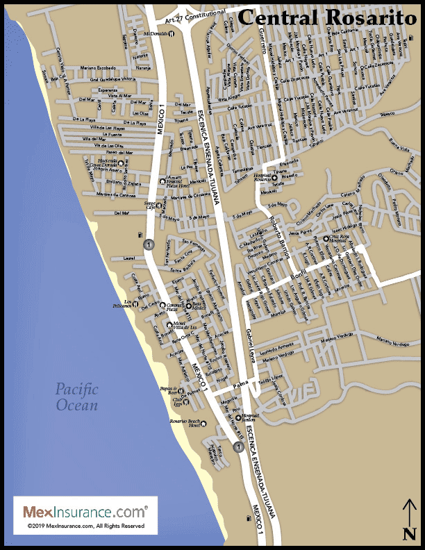 Rosarito Street Map