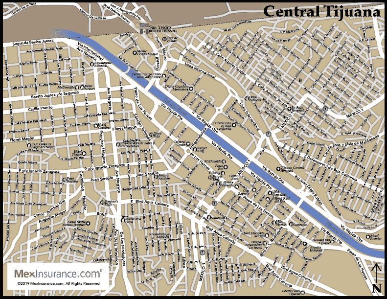 Street Map of Tijuana