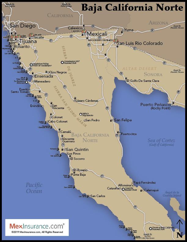 North Baja Map