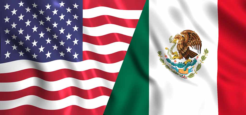 usa and mexico flag