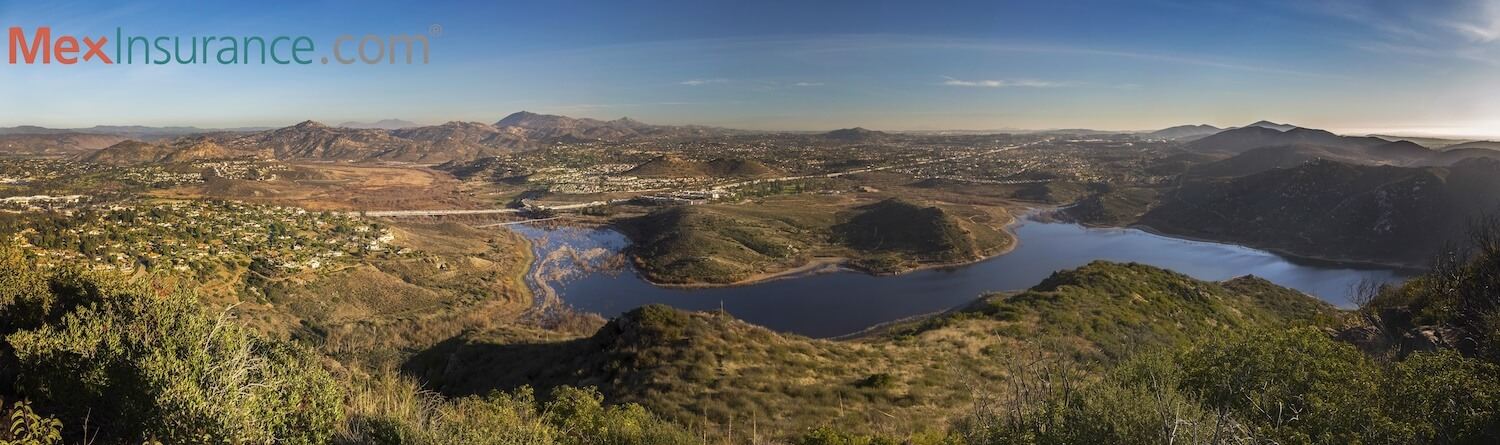Wide Scenic Panoramic Landscape View of Lake Hodges and San Diego County North Inland from summit of Bernardo Mountain Peak in Poway California