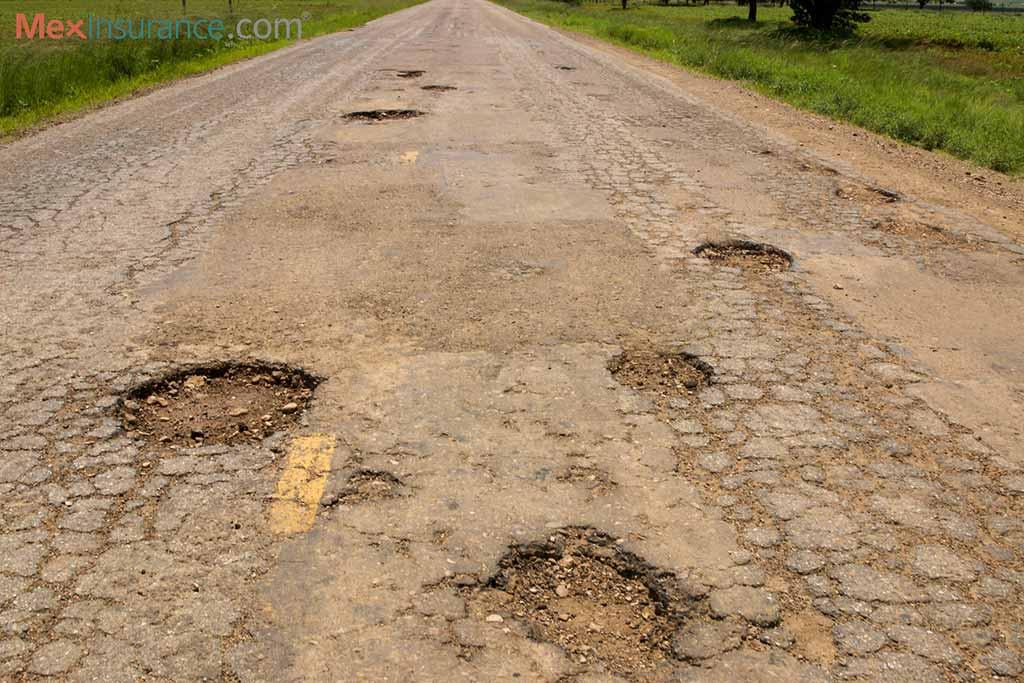 Potholes in Mexico are common