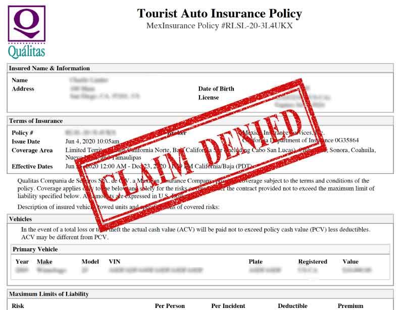 Mexico Insurance Claim Denied FMM