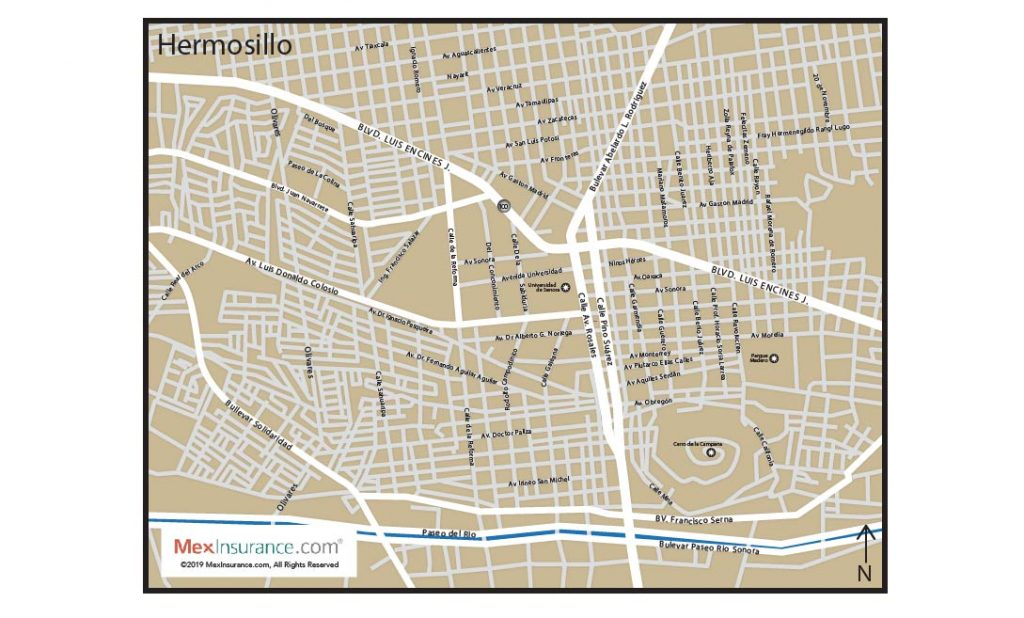 Herosillo Map with Street Detail