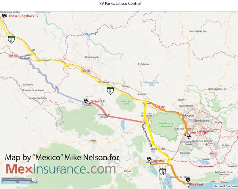 RV Map for Mexico, Jalisco RV Map and Directions