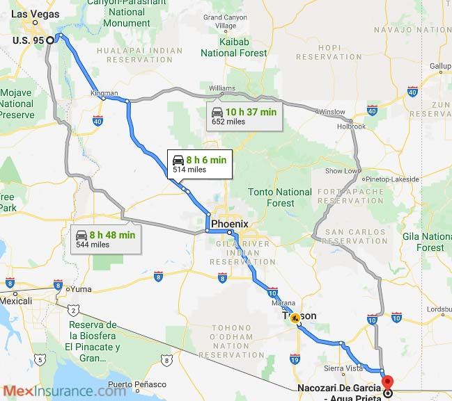 Directions map from Las Vegas to Mexico