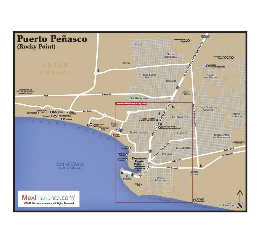 rocky point puerto peñasco map