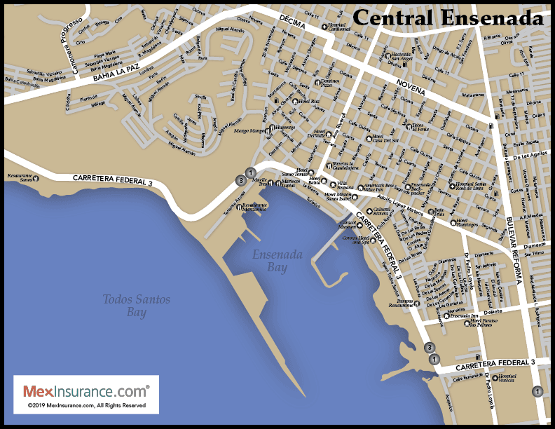 Central Ensenada Map - Street Zoom