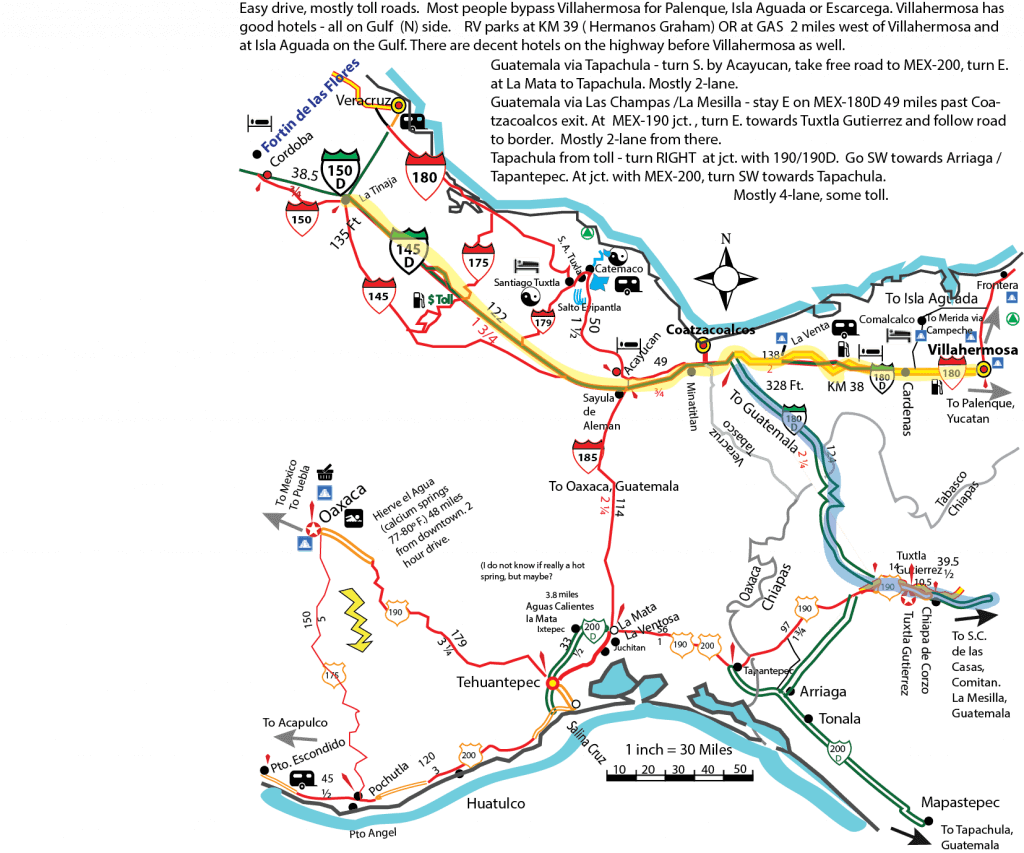 Map with preferred route to San Cristobal Chiapas compliments of Mexico Mike Nelson