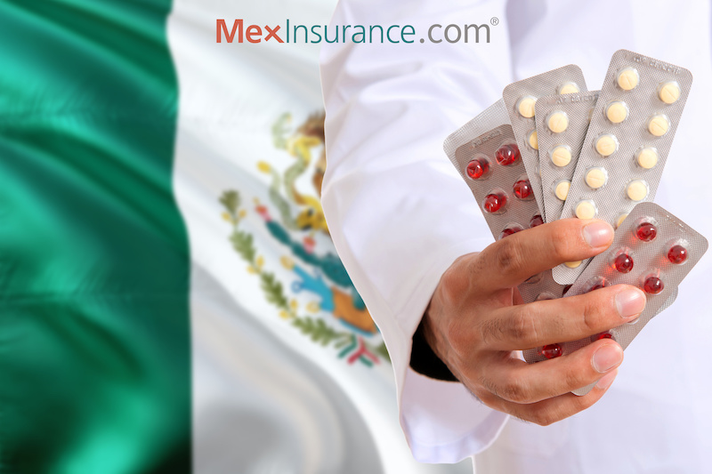 Mexico pharmacy Doctor holding pills tablet