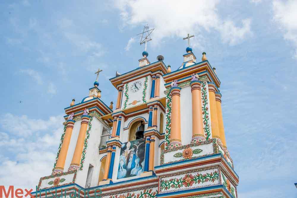 Multi Color Church in Tabasco Mexico