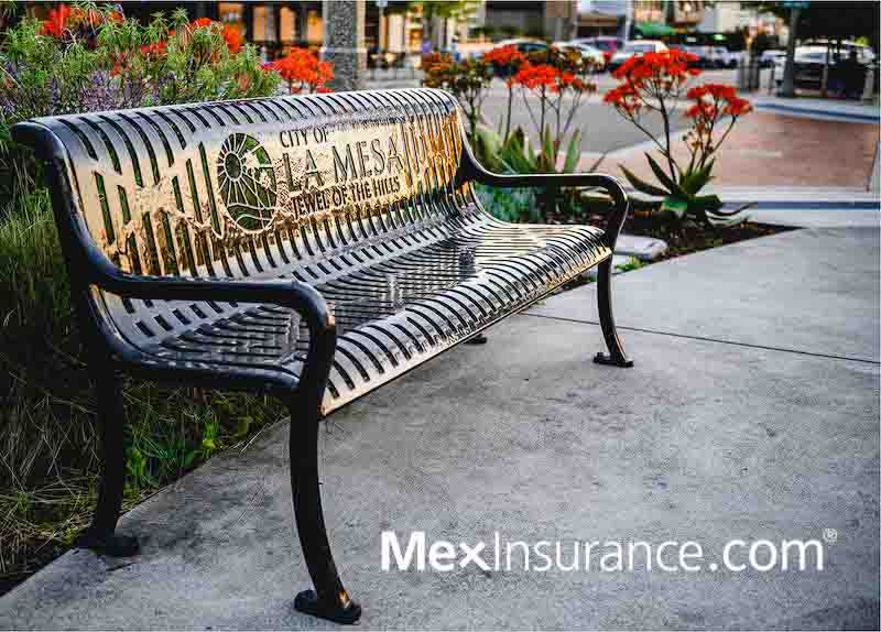 Downtown La Mesa California.  Buy Mexican Insurance online from a park bench in La Mesa