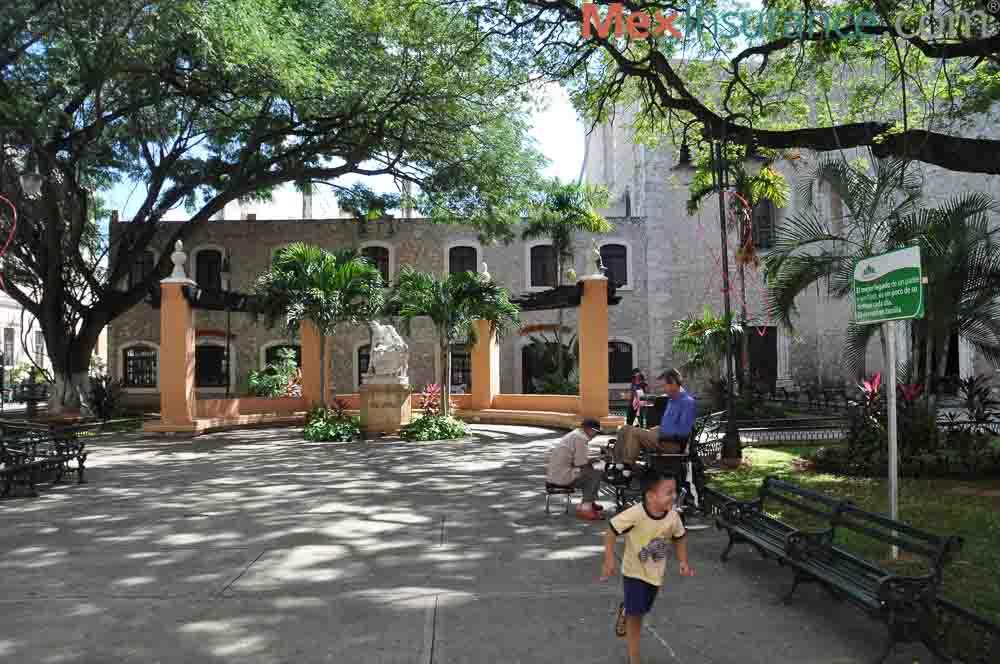 Family friendly plaza Merida Yucatan Mexico