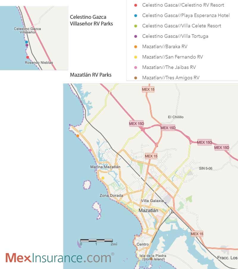 RV Parks Map of Mazatlan, Sinaloa Mexico, RV Sinaloa Mexico, RV Mexico, RV Map Mexico, Mexico RV Parks Map, Sinaloa Mexico RV Map