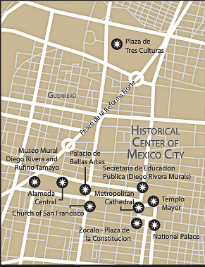 Section 1 of Mexico City Map Historical Center (Central Mexico City)