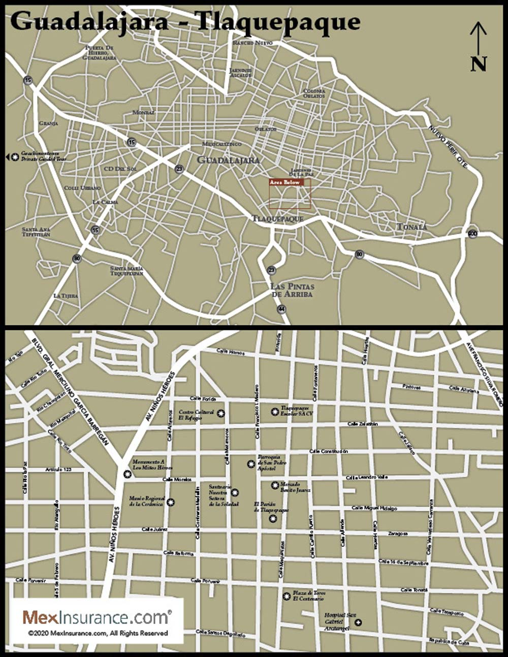 Map of Tlaquepaque - Guadalajar in Mexico (Jalisco)