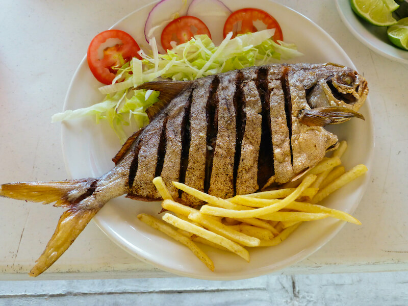 Fish dinner at Freedom Shores, Isla Aguada